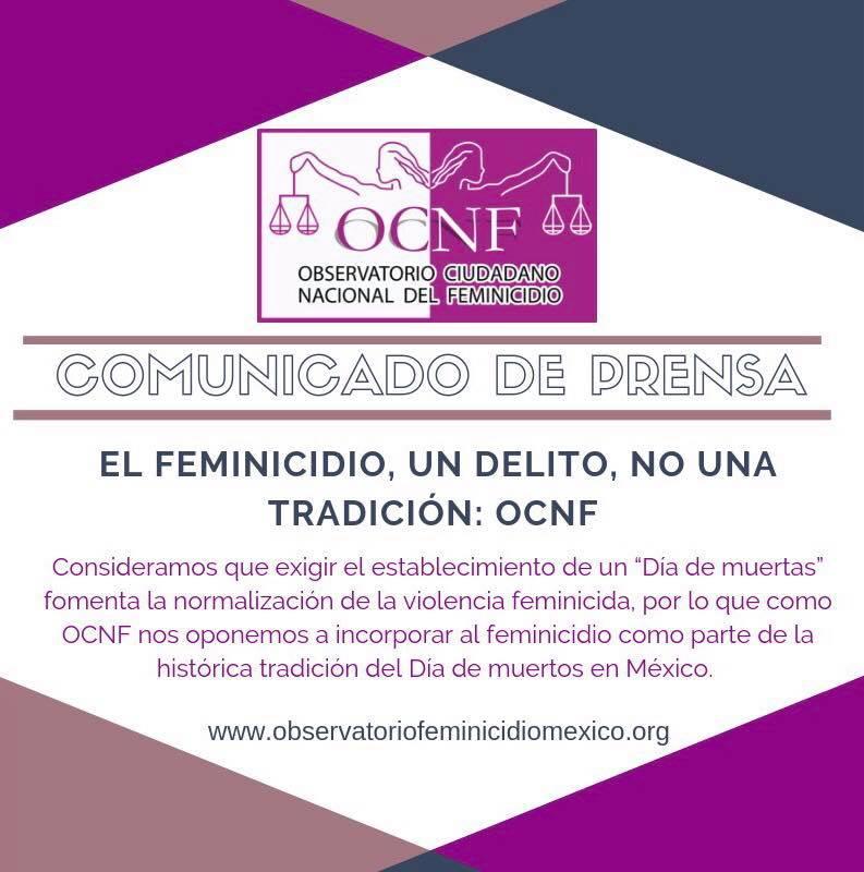 """Dice NO Observatorio Nacional de Feminicidios a tener un """"Día de Muertas"""""""