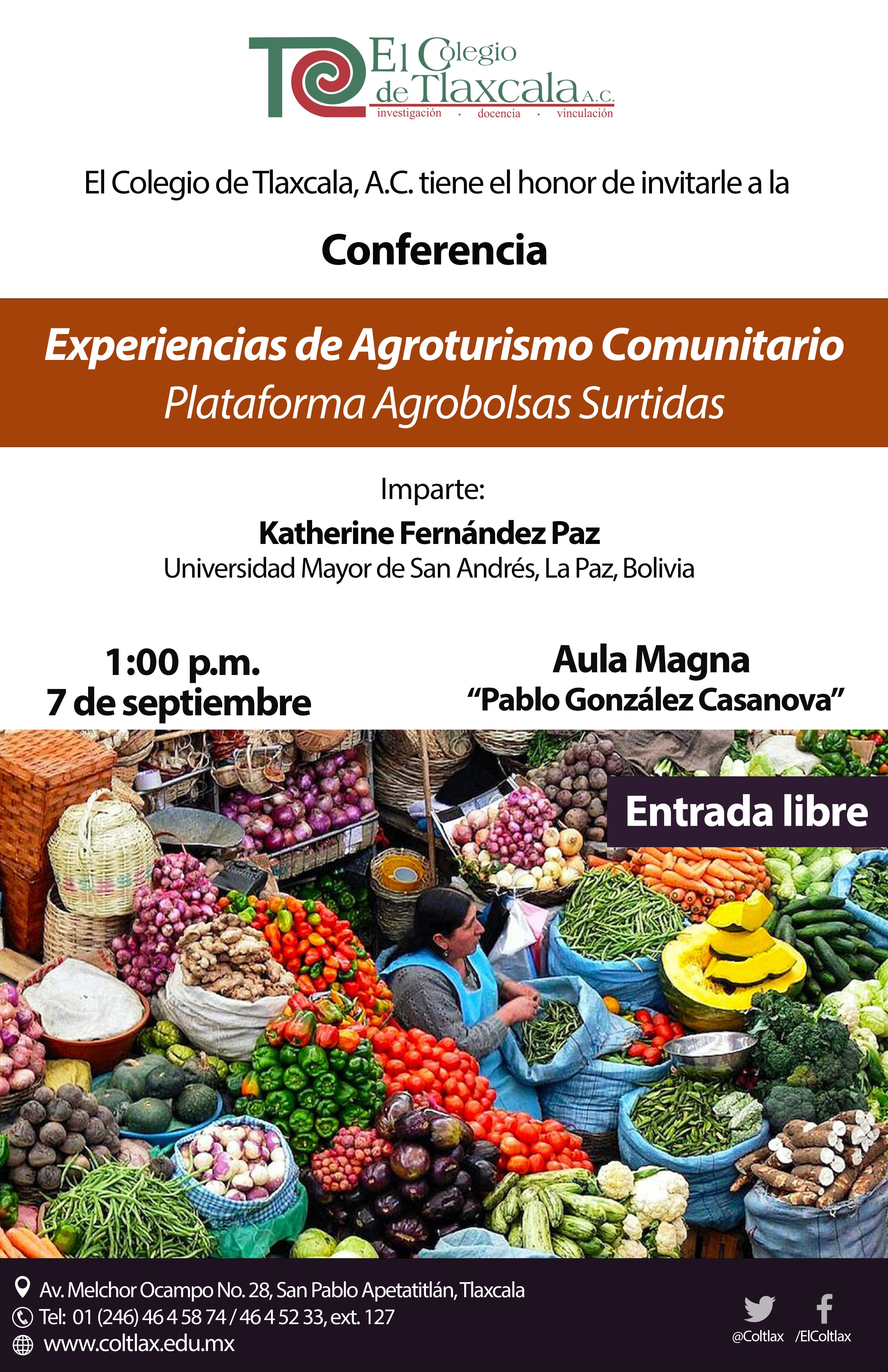 Invita Coltlax a conferencia sobre agroturismo comunitario