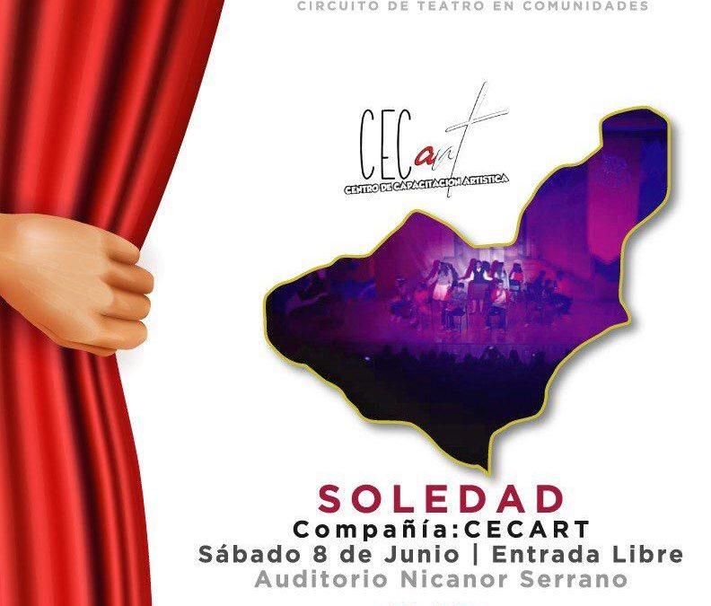 Presentará Cecart obra Soledad en el marco del Tlaxcalteatro sabatino en Zacatelco