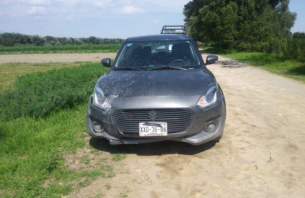 Auto reportado como robado es recuperado cerca de Xoxtla, Puebla, por policía de Zacatelco