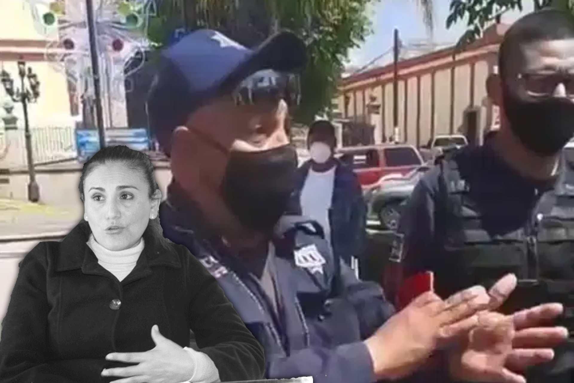 policía-Tlaxco-manifestantes-8M2021-mujeres-feministas-edil-gardenia hernández-PRI