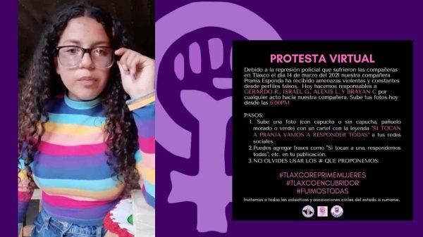 Prania Esponda-Tlaxcala-Protesta virtual-feministas-amenazas de muerte-Tlaxco