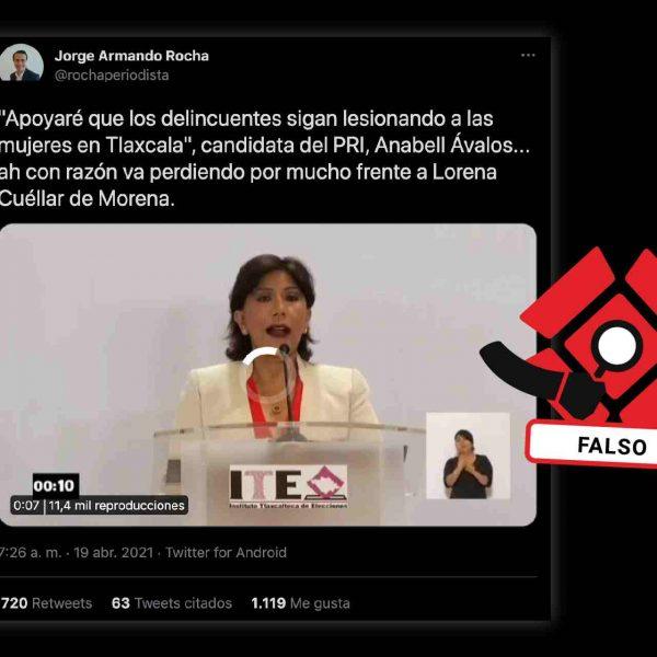 Anabell Ávalos Zempoalteca-Falso-Verificaciones-Fact checking-Elecciones 2021